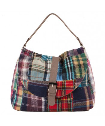 Hand bag, Marisa Multi-color leather and fabric, made in Italy