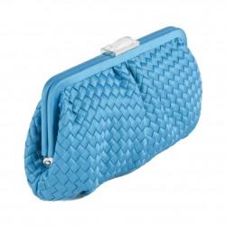 Bolsa de embrague, Loira, Azul, Claro, de tela trenzada