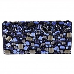 Bag clutch, Ursula Blue, faux leather