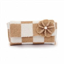 Borsa clutch, Antonella Bianca e beige, in raso e perline