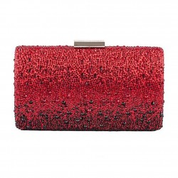 Bag clutch, Pauline Red, satin