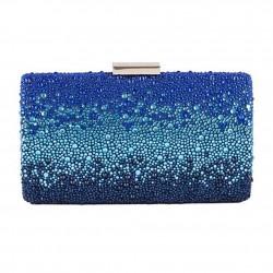 Bag clutch, Pauline Blue, satin