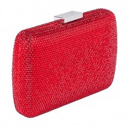 Borsa clutch, Everina Rossa, in raso