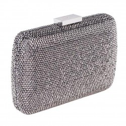 Borsa clutch, Everina Grigia, in raso