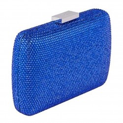 Borsa clutch, Everina Blu, in raso
