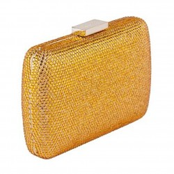Borsa clutch, Everina Arancione, in raso