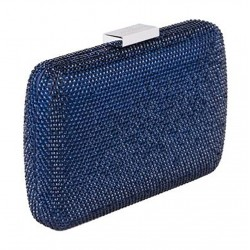 Borsa clutch, Everina Blu Scuro, in raso