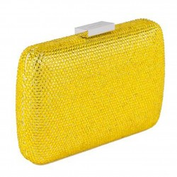 Sac d'embrayage, Everina Jaune, satin