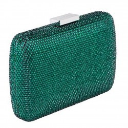 Borsa clutch, Everina Verde Scuro, in raso
