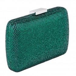 Clutch-tasche, Everina dunkelgrün, satin