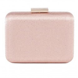 Borsa clutch, Polly Rosa Chiaro, in raso