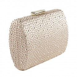 Bag clutch, Carola Pink, In satin with studs