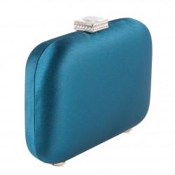 Bolsa de embreagem, Giusi Azul, tecido de cetim