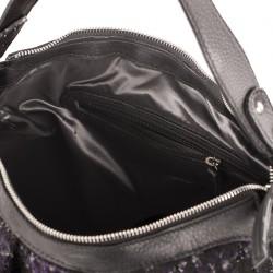 Bolso de hombro, Mina Negra, de cuero y tela