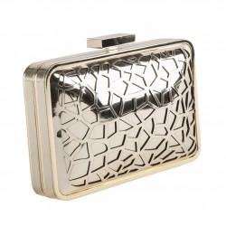 Borsa clutch, Celine Oro, in metallo satinato