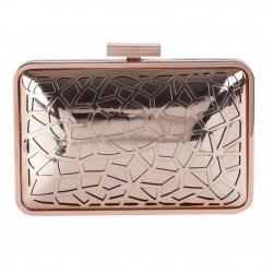 Borsa clutch, Celine Rosa, in metallo satinato