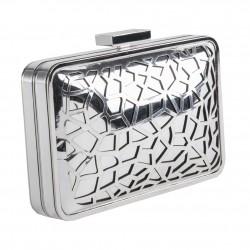 Borsa clutch, Celine Argento, in metallo satinato