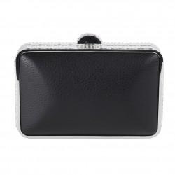 Bag clutch, Chantal Black faux leather