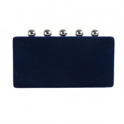 Borsa clutch, Marica Blu, in velluto damascato
