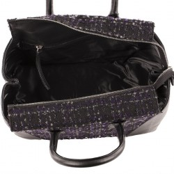 Hand bag, Federica Black leather and fabric