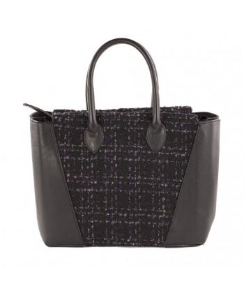 Handtasche, Federica Schwarz, in leder und stoff