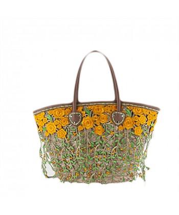 Handtasche, Rosette, stroh