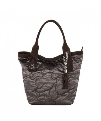 Hand bag, Romina Brown, fabric and leather