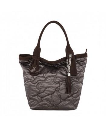 Handtasche, Romina Braun, in stoff und leder