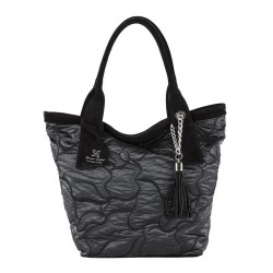Hand bag, Romina Black, fabric and leather
