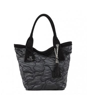 Handtasche, Romina Schwarzer, aus stoff und leder