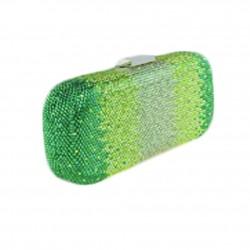 Borsa clutch, Meghi verde, in tessuto e strass