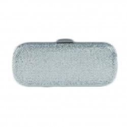 Borsa a clutch, Meghi argento, in tesuto e strass