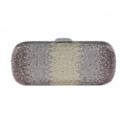 Borsa a clutch, Meghi bronzo, in tesuto e strass