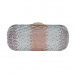 Borsa a clutch, Meghi rosa, in tesuto e strass