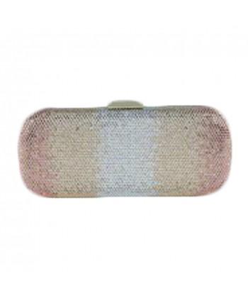Bolsa de embrague, Meghi de oro, tesuto y diamantes de imitación