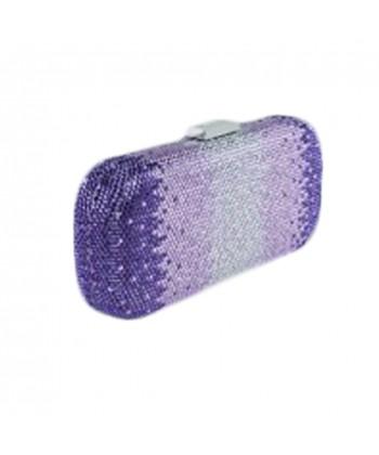 Handtasche clutch, Meghi lila, tesuto und strass