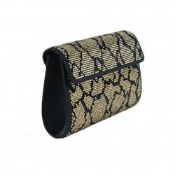 Bolsa de embrague, Marrón, oro, imitación de cuero y strass