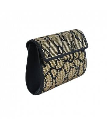 Bag clutch, Brown, gold, faux leather and rhinestones
