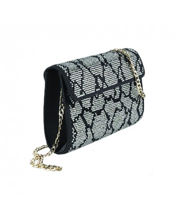 Borsa clutch, Bruna argento, in ecopelle e strass