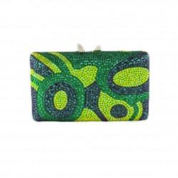 Handtasche clutch, Marion grün, tesuto und strass