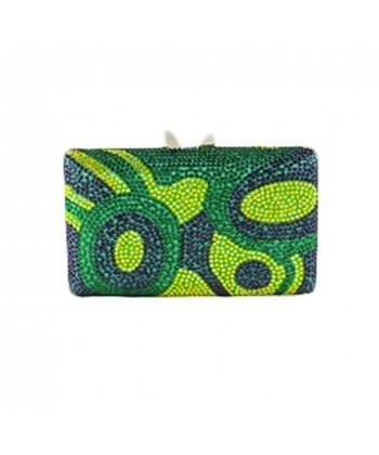 Bolsa de embrague, Marion verde, tesuto y diamantes de imitación