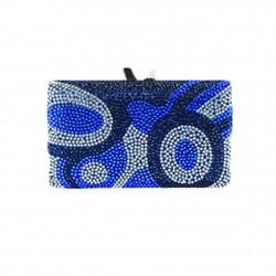 Bolsa de embrague, Marion azul, tesuto y diamantes de imitación