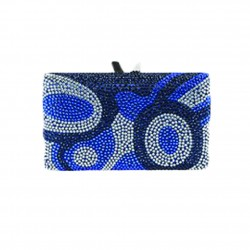Borsa a clutch, Marion  blu, in tesuto e strass