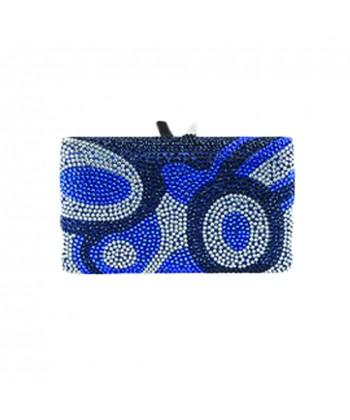 Bolsa de embreagem, Marion azul, tesuto e strass