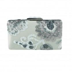 Handtasche clutch, Viviana, satin-grau und paiettes