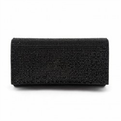 Bag clutch, Ariel Black, in satin and rhinestones