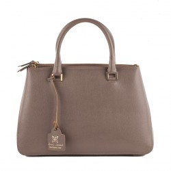 Borsa a mano, Egle Beige, in pelle, made in Italy