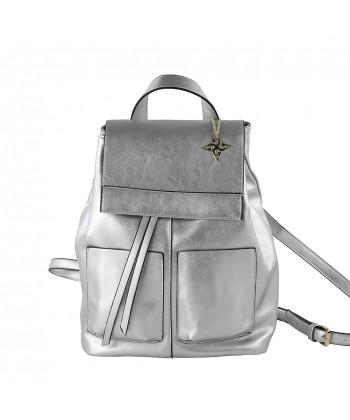 Bolsa mochila, Betty, en imitación de cuero color plata