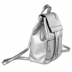 Bag backpack, Betty, in faux leather color silver