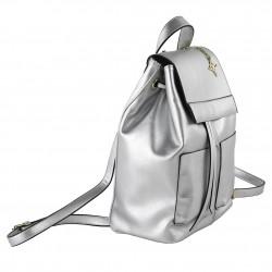 Saco mochila, Betty, en coiro falso cor prata